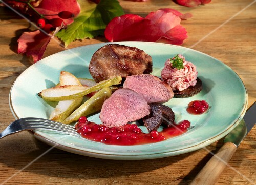 Venison fillet with pears and lingonberry sauce