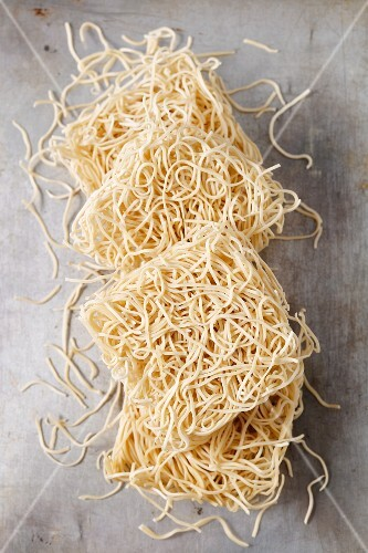 Mie wheat pasta (seen from above)