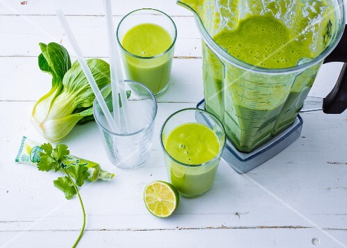 Green avocado and wasabi smoothie with bok choy and coconut milk