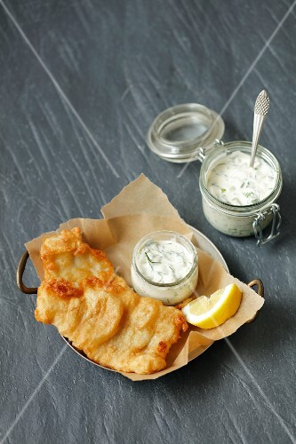 Battered fish with a yoghurt and herb sauce