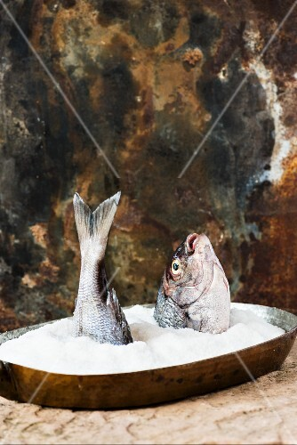 A raw fish on a bed of salt