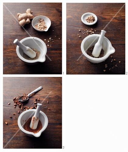 Ginger stomach powder à la Hildegard von Bingen being made