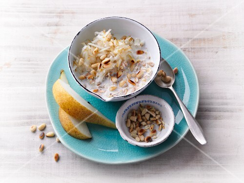 Bircher muesli with pears and pine nuts