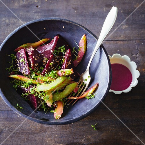 Warm beetroot salad with celery