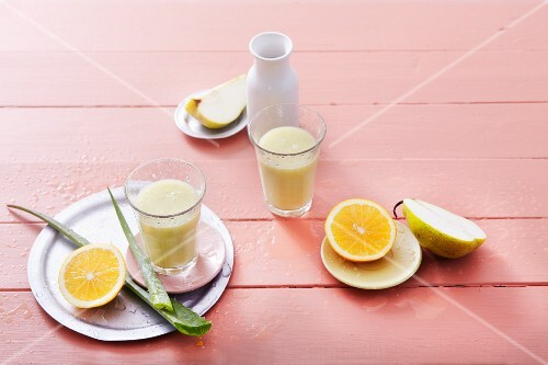 Pear and orange smoothies with aloe vera and coconut