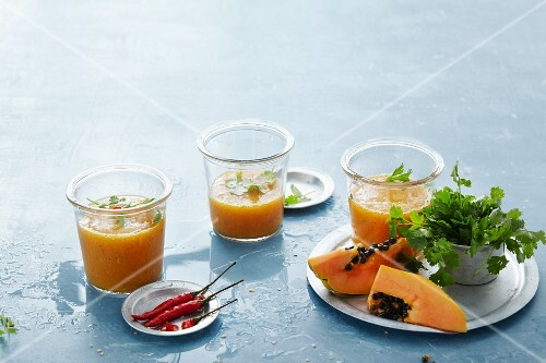 Mango and papaya smoothies with chilli and coriander