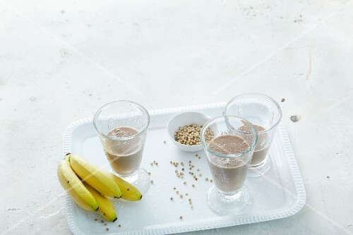 Banana smoothies with almond milk, coriander and cocoa