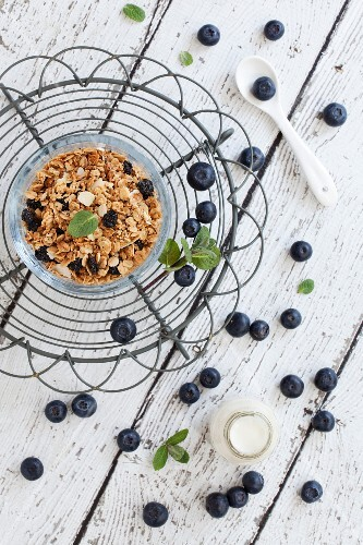 A bowl of blueberry muesli with fresh blueberries and mint