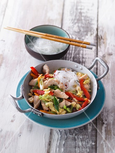 Stir-fried vegetables and turkey with glass noodles
