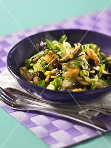 salat mit pak choi schwarzen bohnen und pilzen bild kaufen 11000661 stockfood. Black Bedroom Furniture Sets. Home Design Ideas