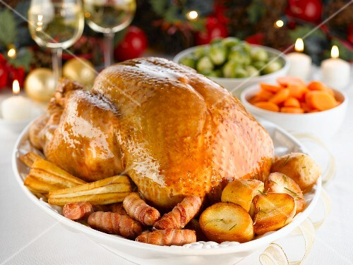 Traditional roast turkey for Christmas