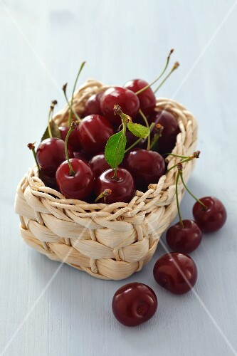 A basket of sour cherries