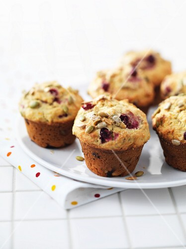 Cranberry muffins with sunflower seeds