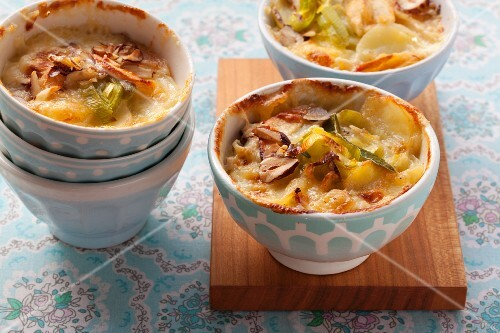 Potato and leek bake and nuts