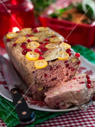 A game terrine with cranberries for Christmas dinner