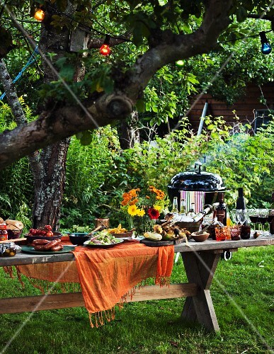 A barbeque garden party