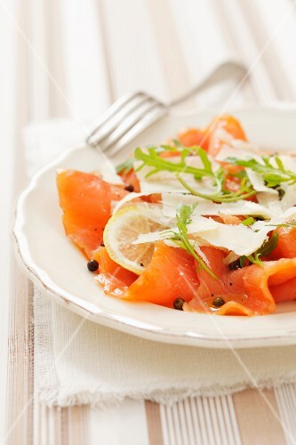 Salmon carpaccio with parmesan and green peppercorns