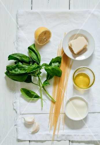 Ingredients for spaghetti with cheese and basil