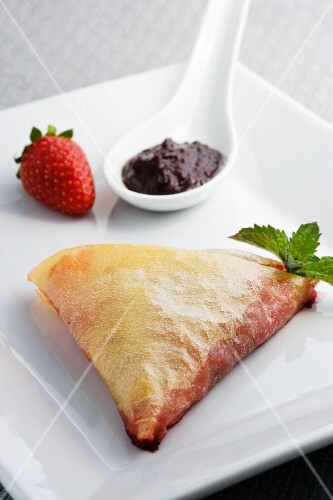 Chausson with chocolate and strawberry filling (French)
