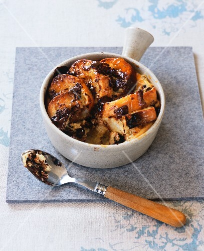 Bread and butter pudding with chocolate pieces
