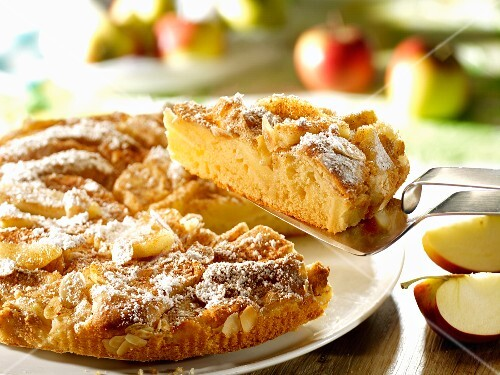 Apple cake with almonds, sliced