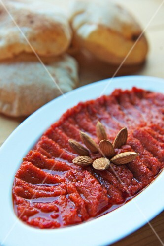 Muhamarra (appetizer with peppers and almonds, Lebanon)