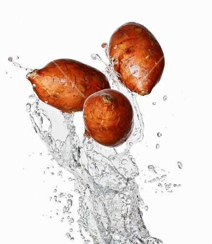 Three sweet potatoes and water