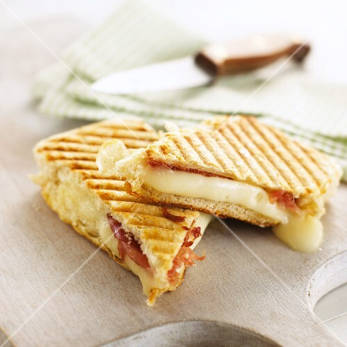 Toasted ham and cheese sandwiches