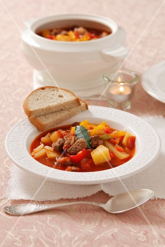 Hungarian beef goulash with peppers and potatoes for Christmas