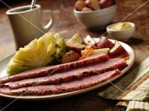 New England Boiled Dinner; Corned Beef, Cabbage and Potatoes
