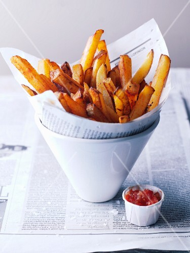 Thick Cut French Fries in Newspaper