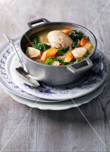 Chicken stew with carrots and savoy cabbage