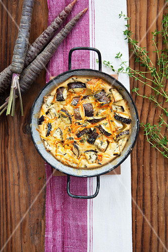 Aubergine and carrot bake