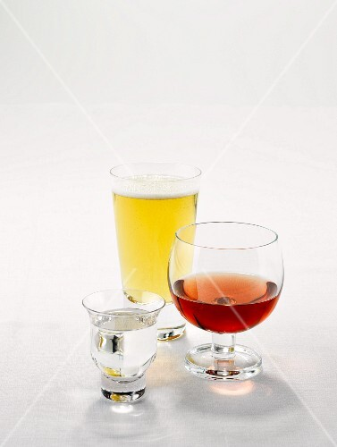 Sake, rose wine and beer in glasses
