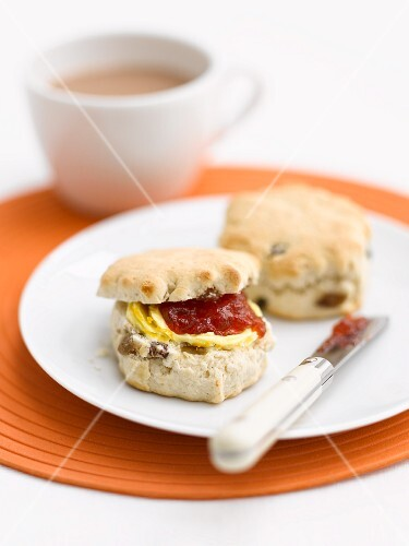 Scones with jam and a cup of tea