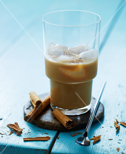 Iced coffee with condensed milk and cinnamon