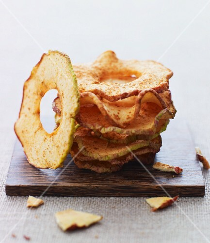Dried apple rings with cinnamon