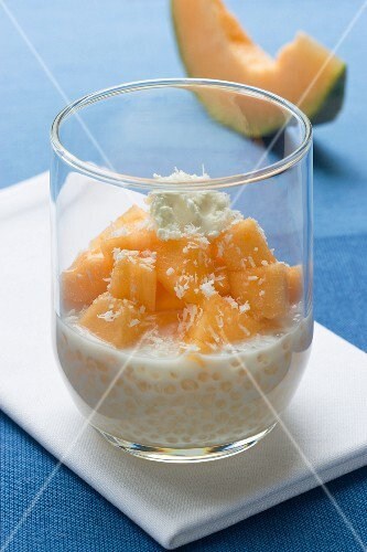 Sago with coconut milk and melon