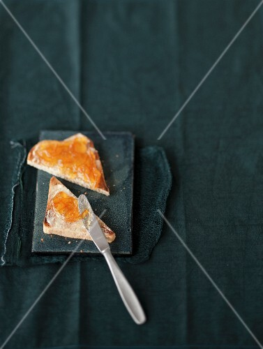Toast topped with bitter orange marmalade