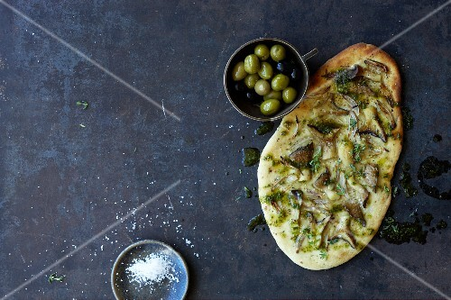 Focaccia with king trumpet mushrooms and thyme