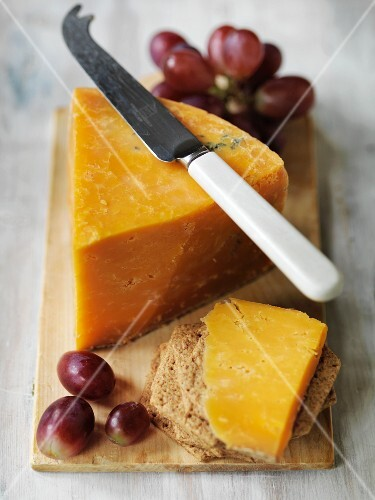 Applebys Double Gloucester cheese with crackers and grapes
