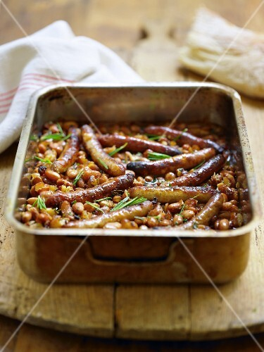 Bean bake with sausages and rosemary