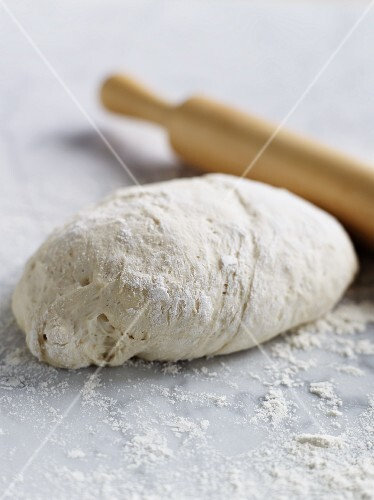 Dough and a rolling pin