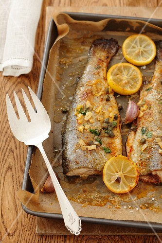 Trout with capers, garlic and lemons