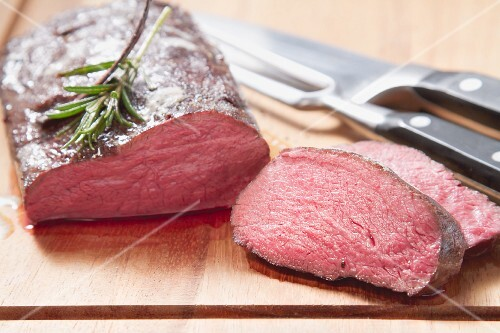 Medium-rare saddle of venison