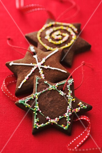 Chocolate Christmas biscuits as decorations