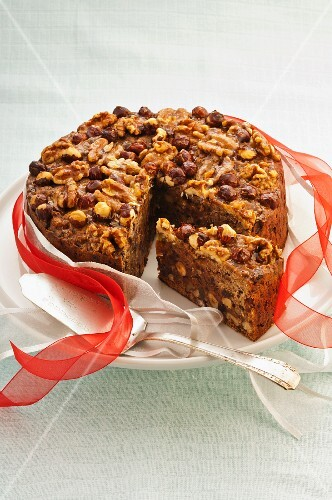 Fruit cake with nuts and chocolate