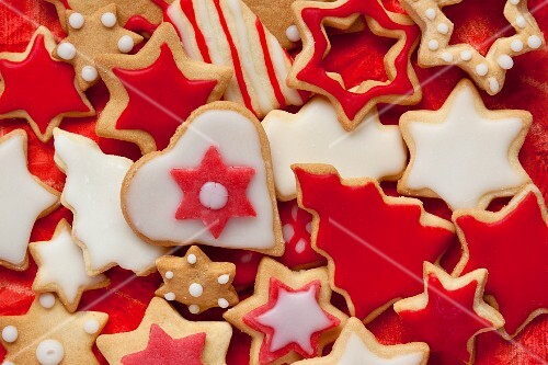 Christmas cookies with red and white icing