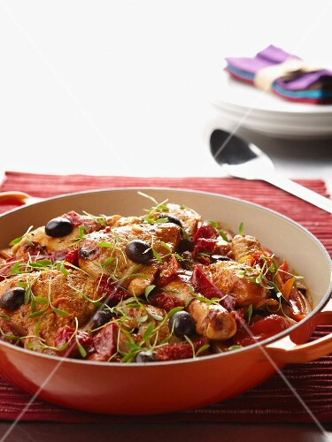 Chicken with peppers and olives (Basque Country)