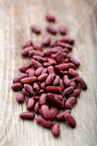 Kidney beans on a wooden surface